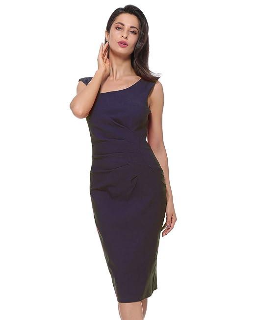 Kenancy Elegante Mujer Vestido de Lápiz Ajustado Delgado Vestidos de Fiesta Noche sin Mangas Collar Irregular
