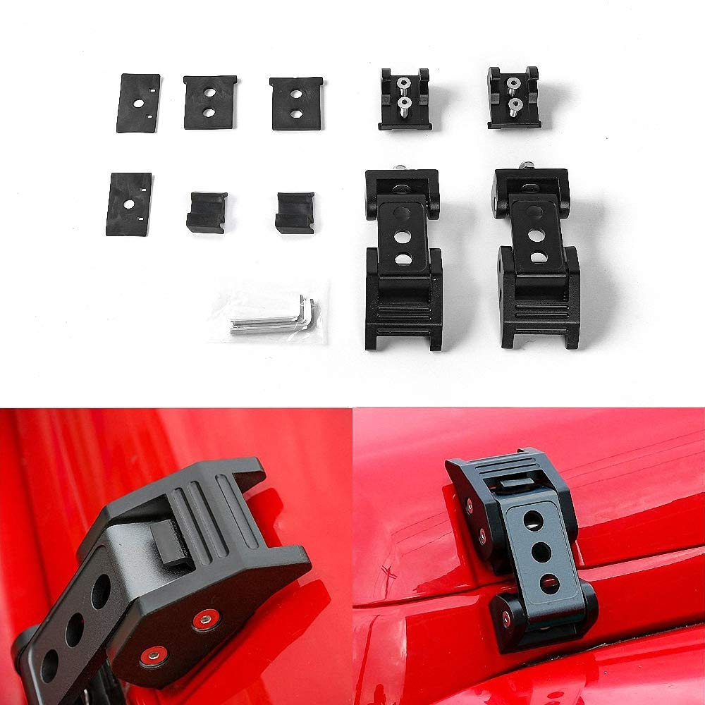 Drizzle Hood Latches Hood Lock with Strong Aluminum Alloy Material Catch Kit 2007-2018 Jeep Wrangler JK JKU (Black)