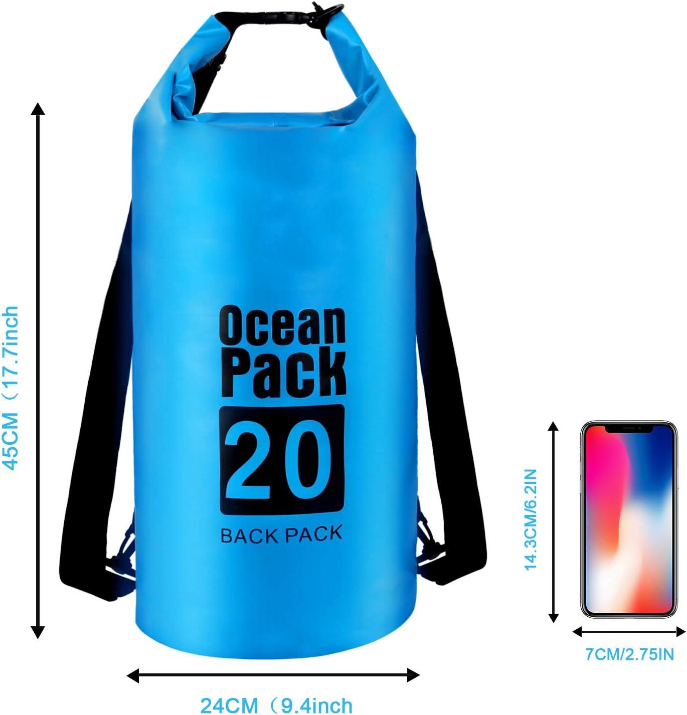 OOTO Waterproof Dry Bags 20L Premium WaterProof Dry Bag//Sack Waterproof Bag with Long Adjustable Strap Waterproof Dry Bags Perfect for Kayaking//Boating//Rafting//Camping//Snowboarding//Swimming