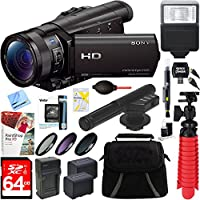Sony HDR-CX900/B HD Camcorder with 12x Optical Zoom + 64GB Mini Microphone & Accessory Bundle
