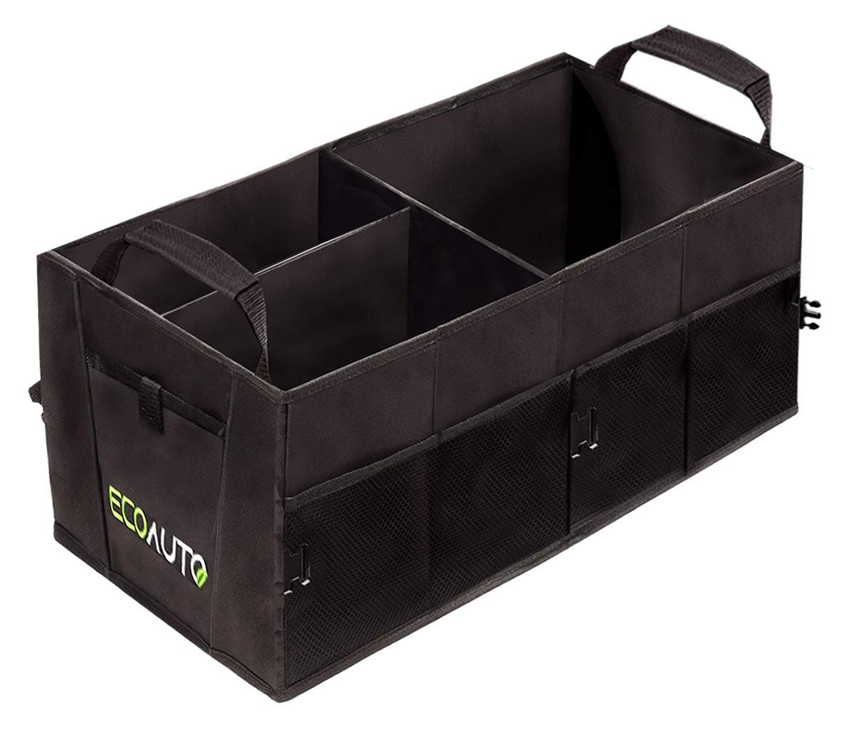 EcoAuto Car Trunk Organizer for SUV, Truck, Minivan & Auto - Foldable & Collapsible Cargo Trunk Storage Box with Straps, Compartments & Multiple Pockets - Space Saving Backseat Storage Basket by EcoAuto