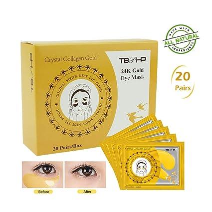 TBPHP Máscara de ojo de colágeno en polvo dorado (20 pares),24K Máscara para ojos de colágeno,Anti-envejecimiento, Máscaras Antiarrugas para Los ...