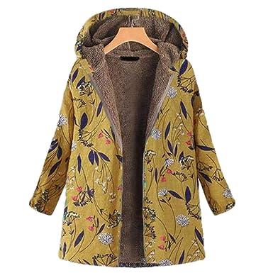 Baijiaye Abrigo con Capucha de Invierno para Mujer Chaqueta de Lana Estampado Floral Outwear Talla Grande Retro: Amazon.es: Ropa y accesorios