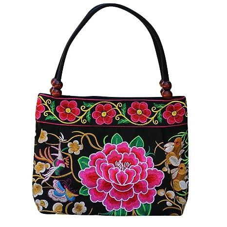 BEATIE Vintage bordado Funda boho Hobo Hmong étnico bolso (Mujeres hombro bolso cordones Handtasche