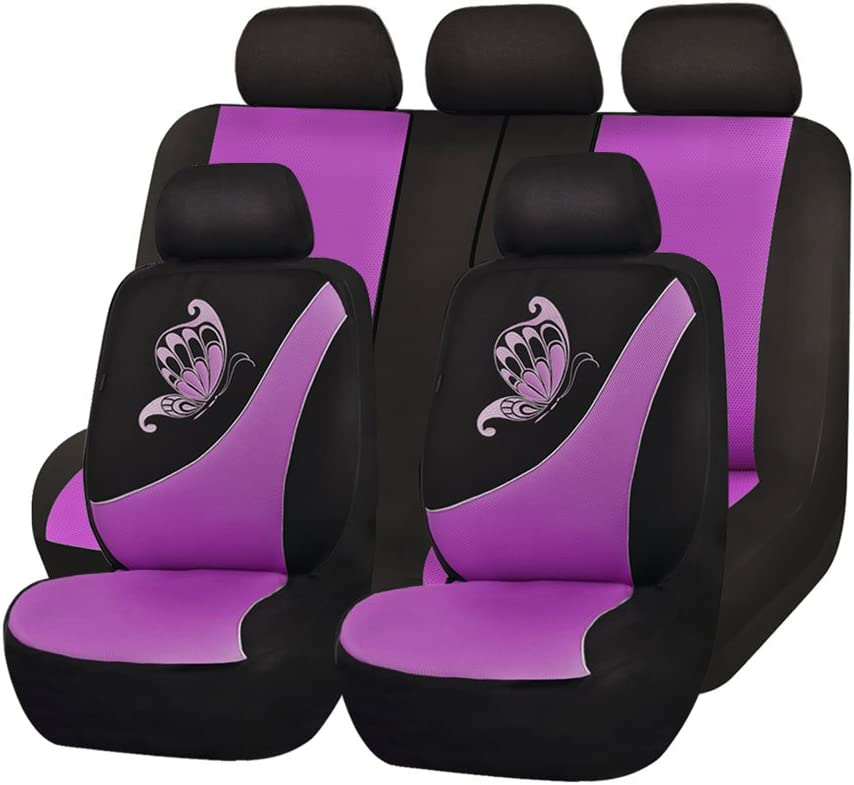 Flying Banner Car Seat Covers 11 PCS Front Seats and Rear Bench Polyester Cover Embroidered Butterfly Three-Dimensional (3D) Purple with Black
