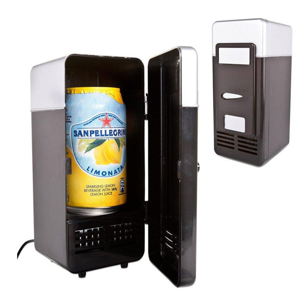 Genmine Mini USB Fridge Portable USB Beer Beverage Drink Cans Cooler/Warmer Refrigerator For Laptop PC Computer Car USB Powered (Black)