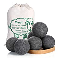 Wool Dryer Balls by MarvelousRule , 6 Pack XL Organic Wool, Non-Toxic, Reusable, X-tra Large. Reduces Drying Time and Chemical-Free. Natural Fabric Softener(3PC Grey + 3PC White)