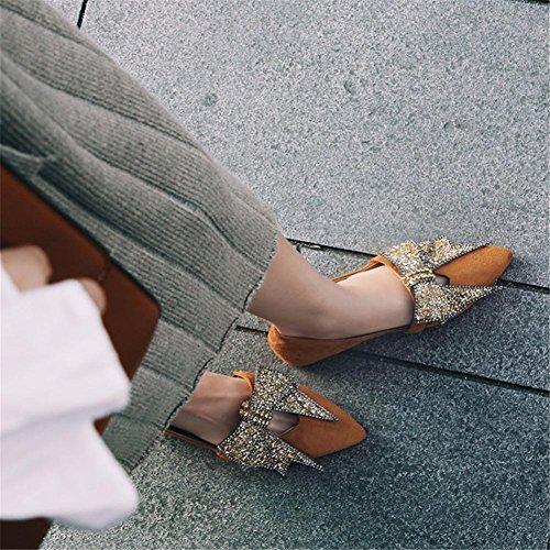 37 Brown Eur eur36uk354 5 Moño Casual Mujer Soltero Zapatillas Pie Corbata Del 4 Caminar Diamante Zapatos Nvxie Imitación Ante Ponerse Dedo Comodidad 5 Plano Puntiagudo Para De Mocasín uk pnfOF1qB