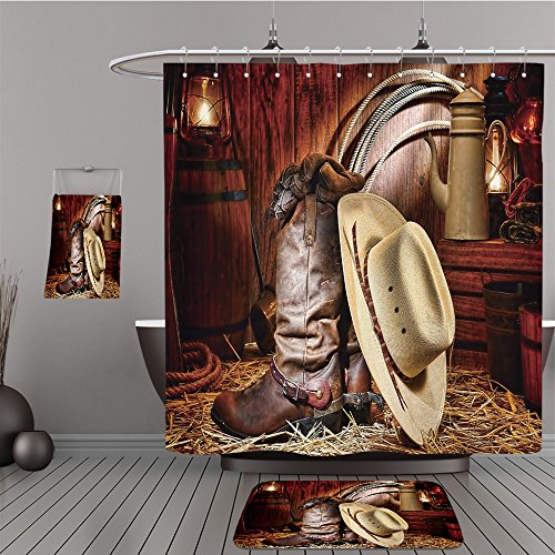 Uhoo Bathroom Suits & Shower Curtains Floor Mats And Bath Towels 90311620 American West rodeo cowboy traditional white straw hat on leather rancher roper boots with authentic Western riding spurs in (Aztec Mens Roper)
