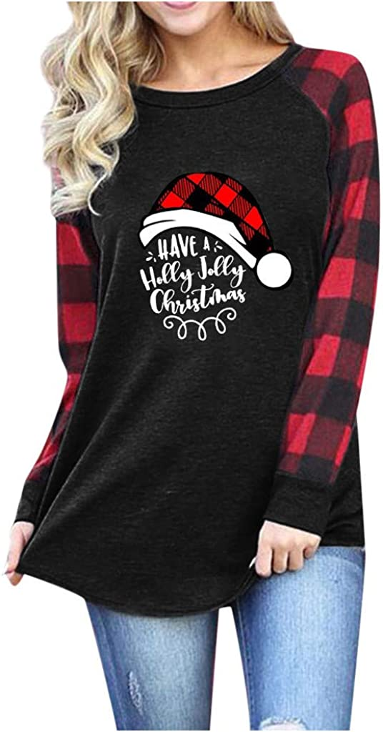 Winsummer Have A Holly Jolly Christmas Shirts for Women Letter Printed Graphic T Shirt Long Sleeve Raglan Baseball Tops