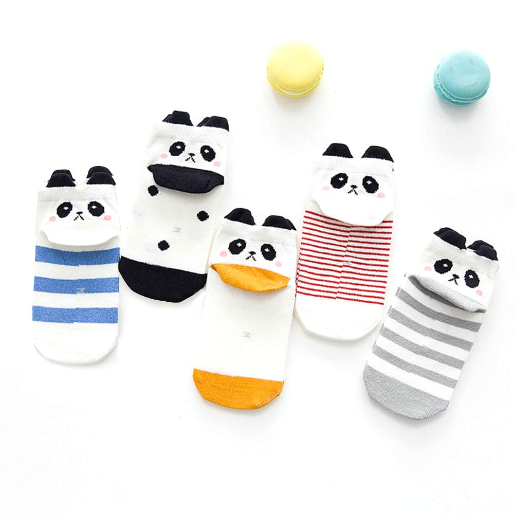 Honey.B Cotton Animal Character Socks - 5 Pairs of Soft Cotton Blends Kid's Casual Fashion Cute Fun Multi Unique Design and Color Comfortable Crew Socks for Little Girls,Boys - 05-XLARGE