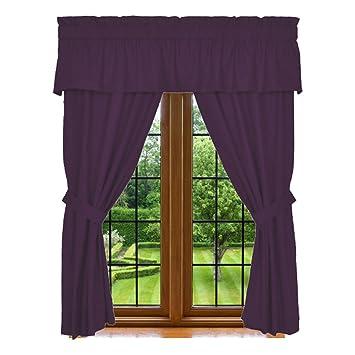 Amazon.com: Clara Clark 5-Piece Window Curtain Set, Includes 84 ...