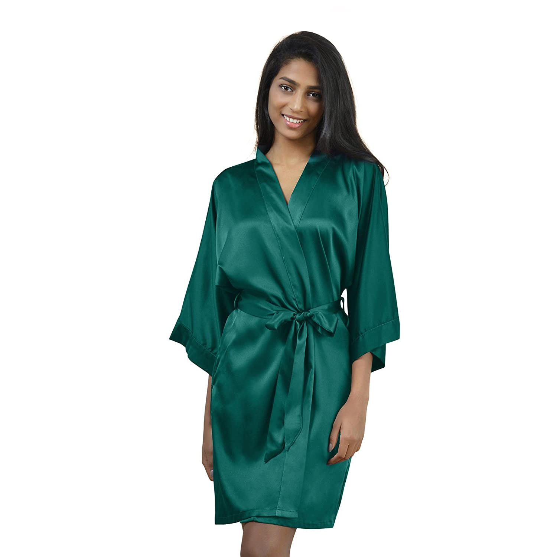 AW Satin Robe Short Kimono Birdesmaid Robes Women Bathrobe Soft Sleepwear Loungewear Spa Robe, Teal M
