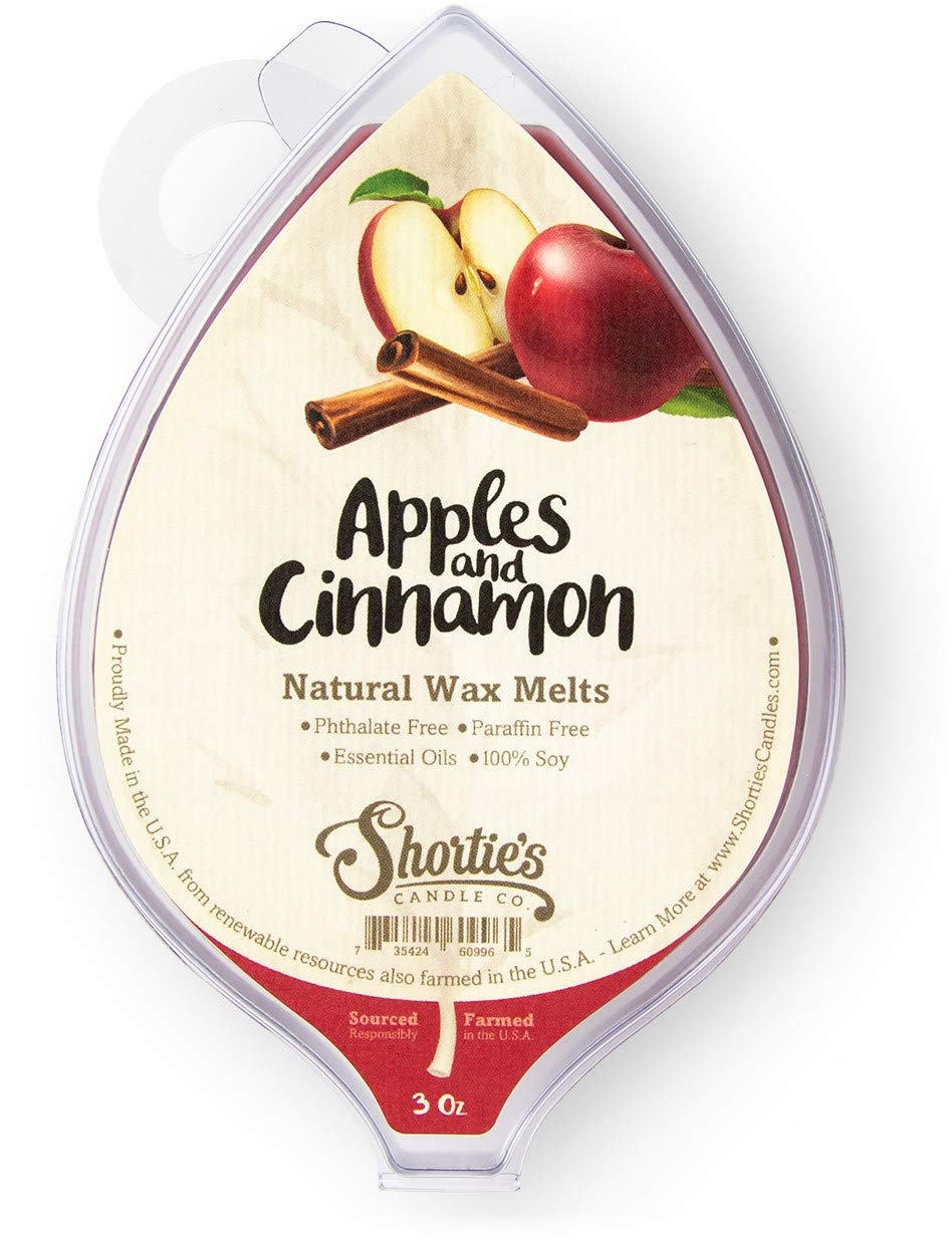 Apples & Cinnamon All Natural Soy Wax Melts - 1 Highly Scented 3 Oz. Bar - Made with Responsibly Sourced Soy and Essential Fragrance Oils - Phthalate & Paraffin Free, Vegan, Non-Toxic