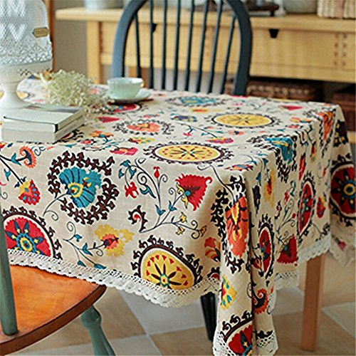 Superwinger Vintage Lace Sun Flower Tablecloth,Linen Embroidered Rectangle Washable Dinner Picnic Table Cloth,Assorted Size. (140x250cm (55x98 inch), Multi)