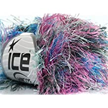 Lot of 8 Skeins Ice Yarns LONG EYELASH COLORFUL Yarn Blue Pink Mint Green Black