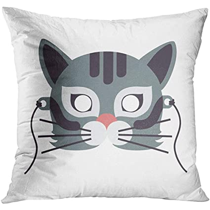 Amazon.com: Throw Pillow Cover Cat Animal Carnival Mask in ...