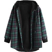 ZAFUL Chaqueta con capucha para mujer, diseño a cuadros, con bolsillos, hombros caídos, sueltos