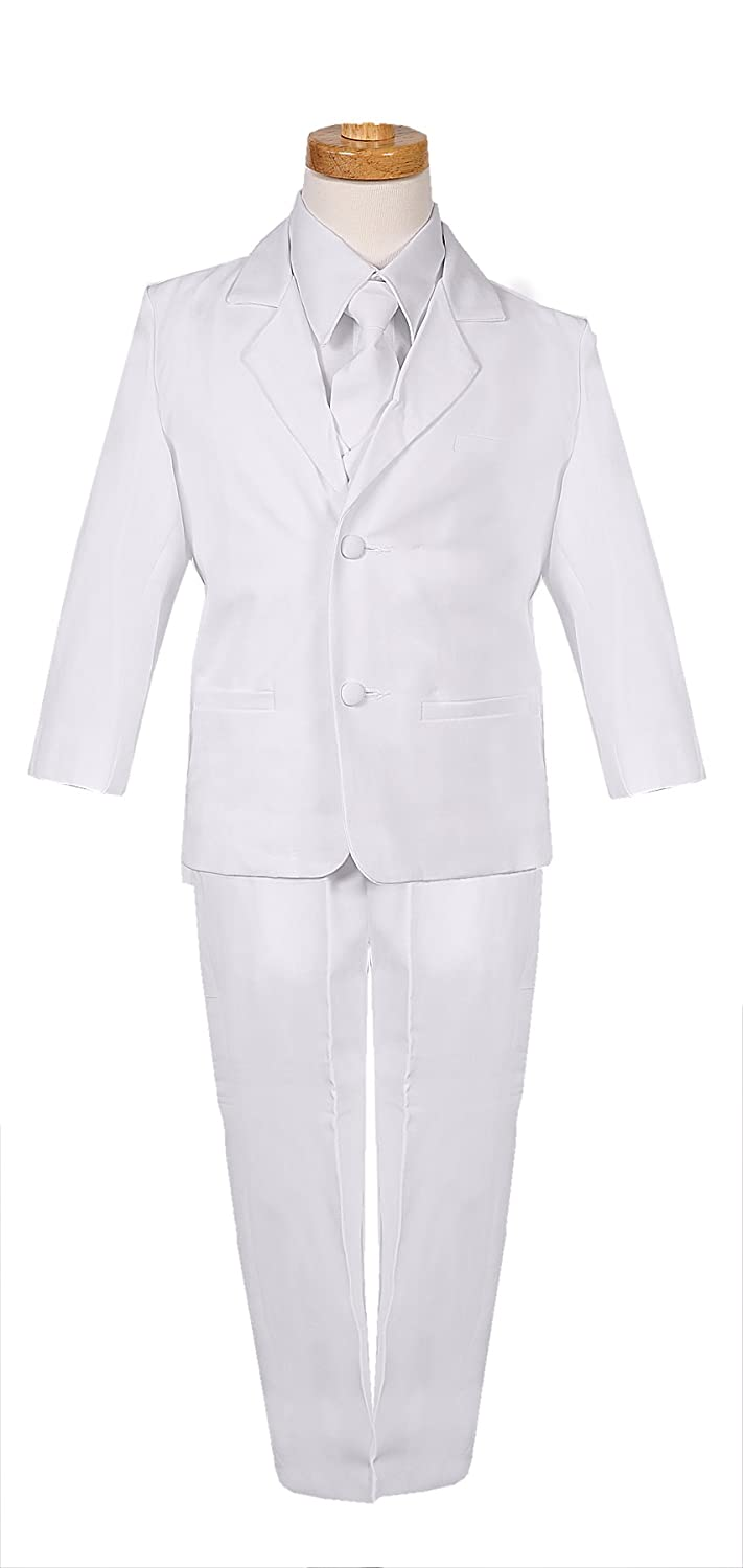 Rafael Classic Cut White Boys Formal Suit with Matching Tie and Shirt