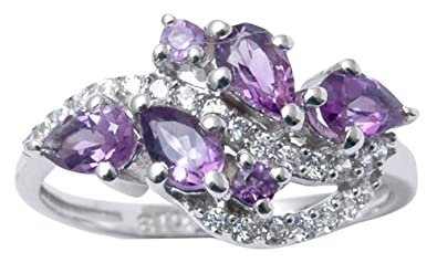 Banithani 925 Sterling Silver Beautiful Amethyst Stone Designer Ring Women Fashion Jewellery KMc9q4dbo7