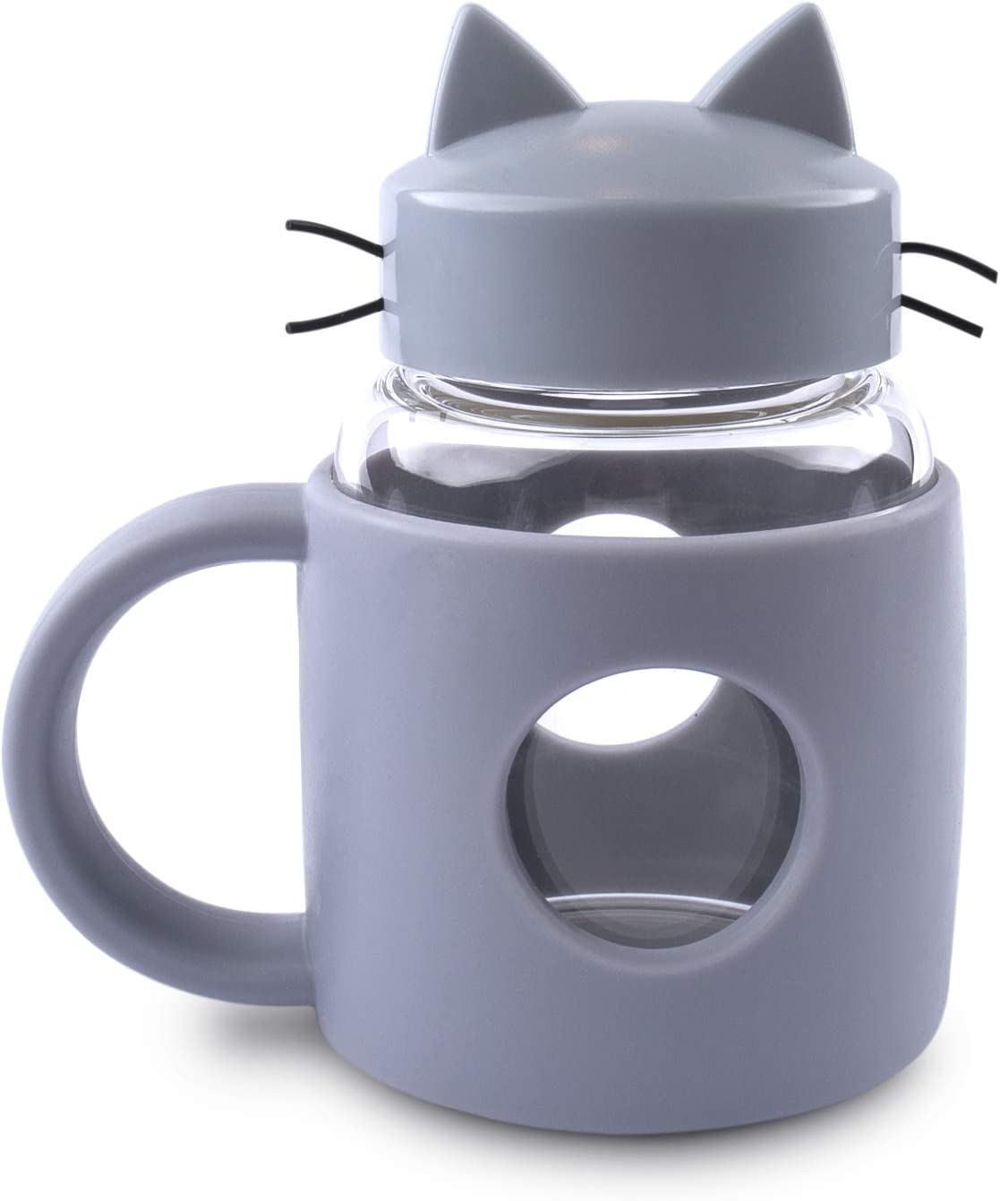 Handmade Glass Crazy Cat lovers Tea Cup or Coffee Kawaii Mug with Tail Handle, Cute Portable Teacup, 300ml 10oz Glass Mason Jar with Lid and High Heat Resistance