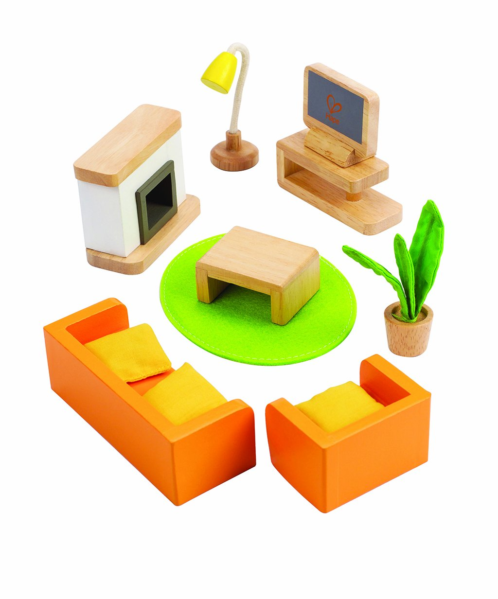 Amazon.com: Hape Wooden Doll House Furniture Media Room Set: Toys U0026 Games