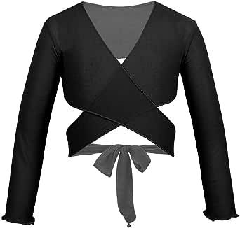 QinCiao Kids Girls Classic Wrap Tops Long Sleeve Ballet Dance Cardigan Sweaters Athletic Leotard Crossover Crop Top Coat