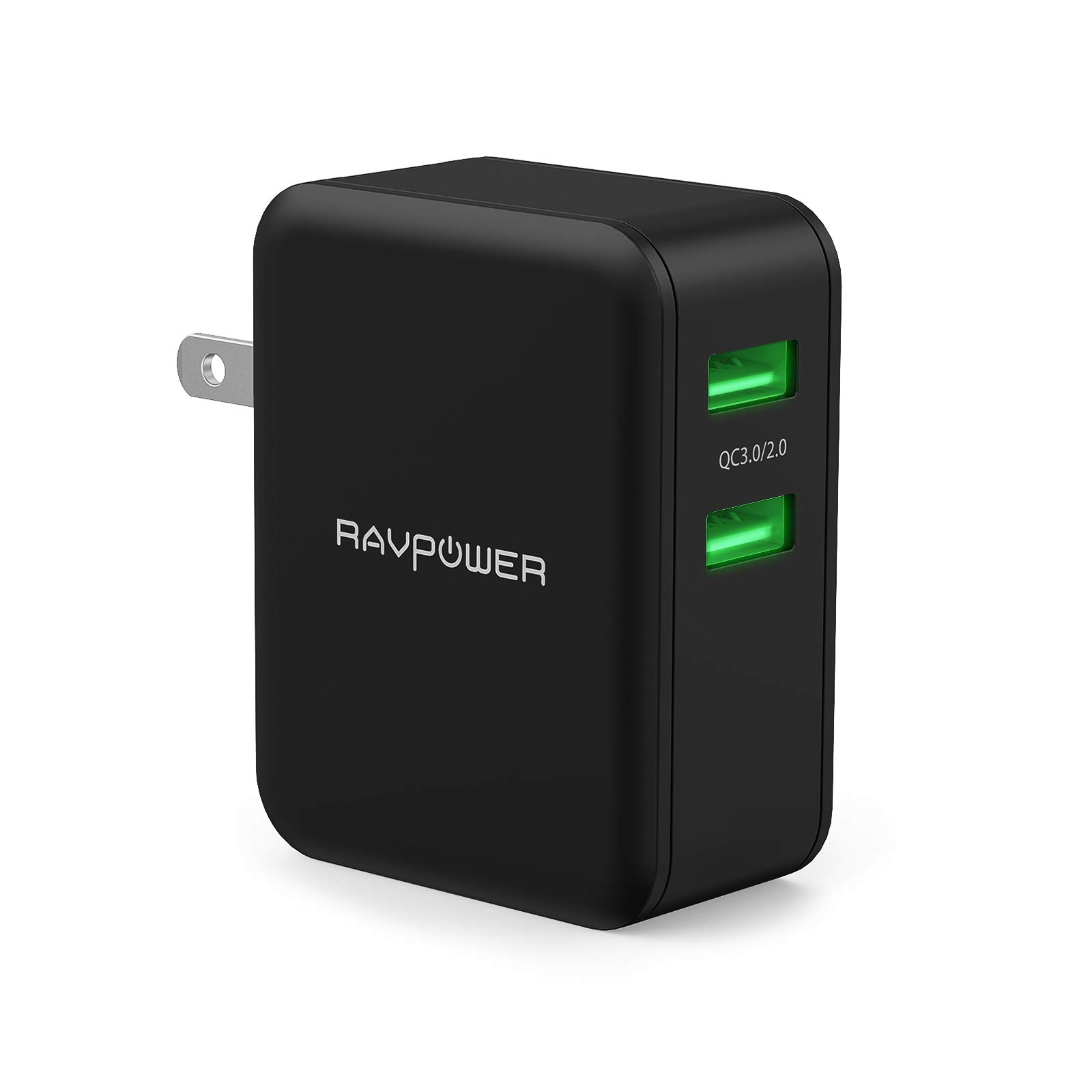 USB Quick Charger, RAVPower 36W Quick Charge 3.0 Wall Charger, Dual USB Plug for Galaxy S9 / S8 / Note 8, LG V6 / V20, Google Pixel/Nexus, HTC 10, iPhone Xs/XR/X / 8/7+ (Black) by RAVPower
