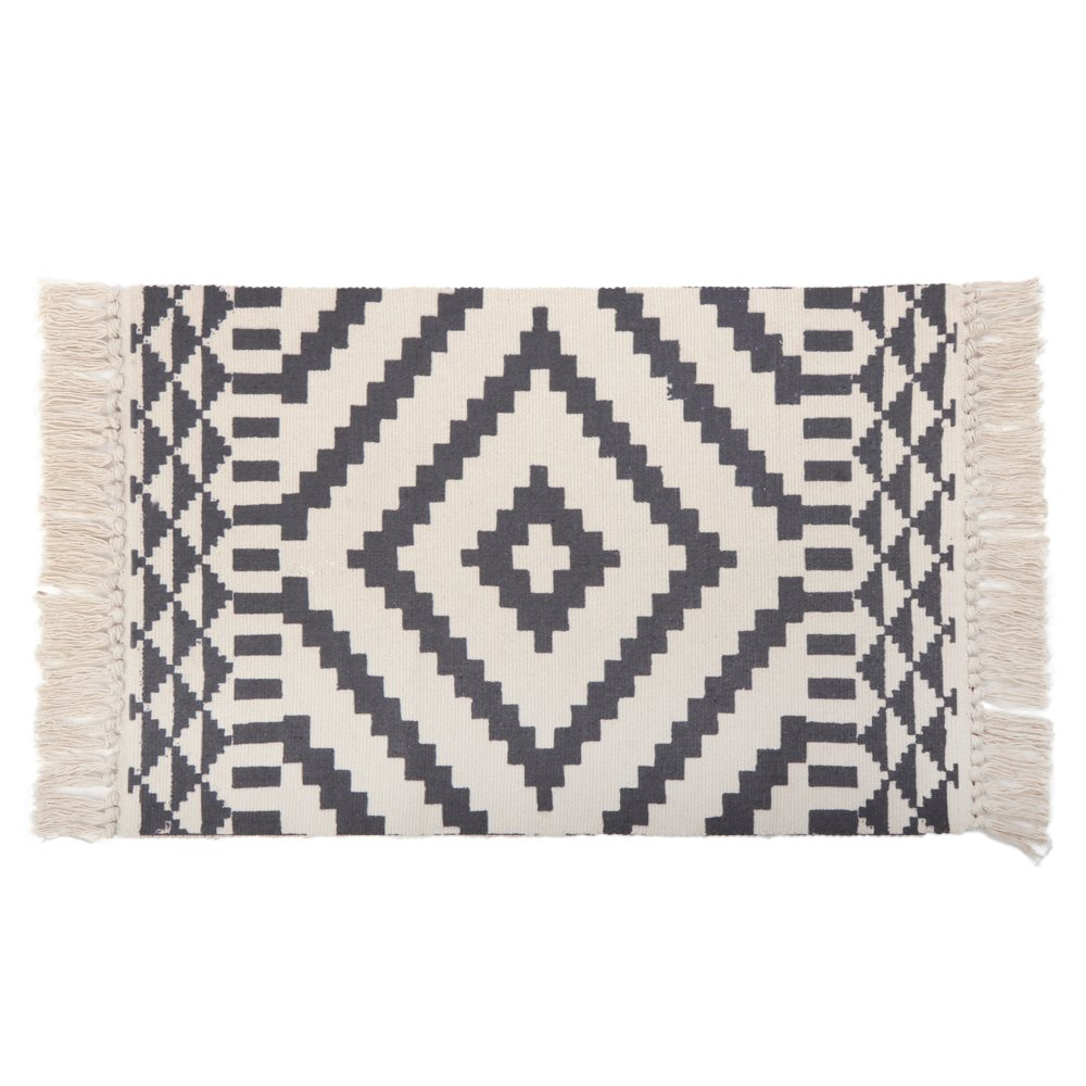 Kimode moroccan cotton area rughand woven cream and black chic diamond print tassels throw rugs door mat with non slip padsindoor area rugs for bathroom
