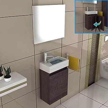 GroBartig Bad1a Waschbeckenunterschrank Badezimmer Möbel Set 40x22 Cm In Alamo Eiche,  Waschplatz Aus Mineralguss Für