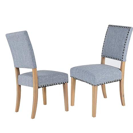 Amazon.com: Giantex - Juego de 2 sillas tapizadas con cojín ...
