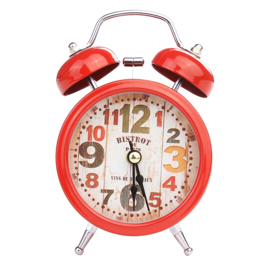 Yunso Retro Classic Alarm Clock, Twin Bell Alarm Clock Loud Battery Powered with Night Light, Quartz Analog Gifts for Kids Teenagers (Red)