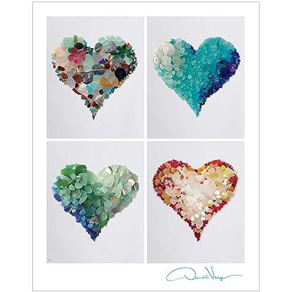Amazon.com: Love. Four Sea Glass Hearts Poster. Unique 11x14 Fine ...
