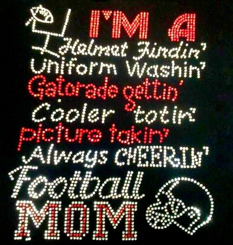 Football Mom Gatorade Helmet finding Cheering Rhinestone Transfer Iron On