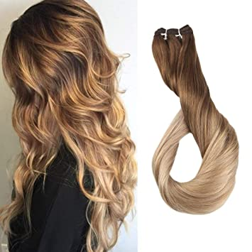 Clip-in Full Head Fine Full Shine Brazilian Human Hair Clip Extensions Ombre Color #4 Fading To 18 And 27 100g 10pcs Real Hair Double Weft Clip Ins Ideal Gift For All Occasions Hair Extensions