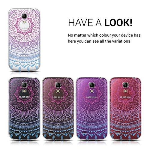 kwmobile TPU Silicone Case for Samsung Galaxy S4 Mini - Crystal Clear Smartphone Back Case Protective Cover - Blue/Dark Pink/Transparent