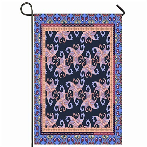 Ahawoso Outdoor Garden Flag 12x18 Inches Blue Border Bandana Ceramic Buta Carpet Doily Floral Design Neckwear Two Sides Seasonal Home Decor House Yard Sign Banner