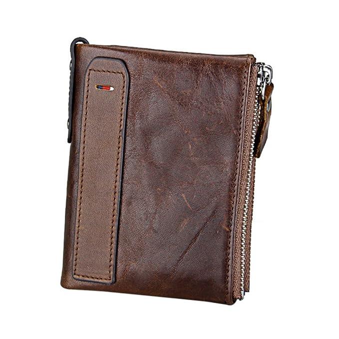 YsinoBear Cartera para hombre Vintage RFID Blocking Horse Cowhide Carder Credit Carder Bifold Purse con cremallera Coin Pocket (Café): Amazon.es: Equipaje