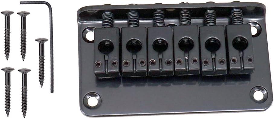 1 Set Patín de Puente Saddle de Monta para 6 Cuerdas de Guitarra Eléctirca Negro Aleación de Zinc