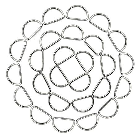 Hysagtek Heavy Duty 50x 1 Inch Metal D Ring Buckles For Dog Collars