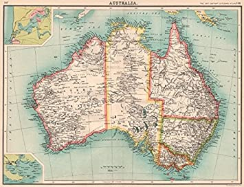 Map Of Australia 1901.Amazon Com Australia Showing States Goldfields Telegraph Cables