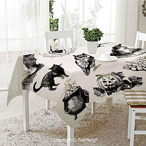 BeeMeng Dining Kitchen Polyester dust-Proof Table Cover,Vintage Halloween,Halloween Related Pictures Drawn by Hand Raven Owl Spider Black Cat Decorative,Black White,Rectangular,59 x 59 inches -