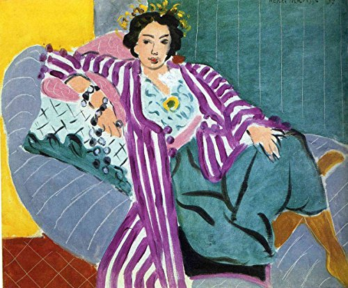 Henri Matisse - Small Odalisque in Purple Robe, Canvas Art Print, Size 11x14, Canvas Print Rolled in a Tube