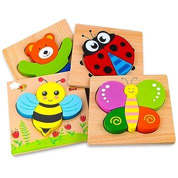 Afufu Juguetes Bebes, Puzzles de Madera Educativos para Bebé, Juguetes niños 1 año 2 3 4 5 6 años, Dibujo de Animal Colorido con Placa, Regalo de ...