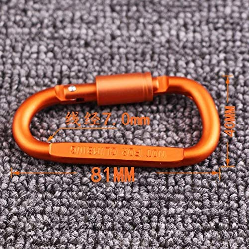 HELLO BAMBOO 8pcs Aluminum D-Ring Locking Carabiner,Keychain Clip Spring Snap Key Chain Clip Hook Screw Gate Buckle