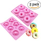 6 Cavity Silicone Donut Pan Tray with Heart and Star Mold - Donut Baking Pans and Molds - 2 Pack
