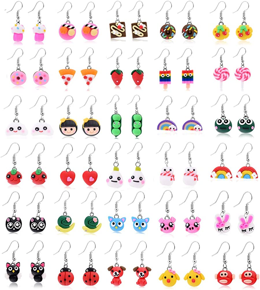 Cren Fashion Soft Ceramic Handmade Food Theme Stud Earrings Set of 12(Style random)