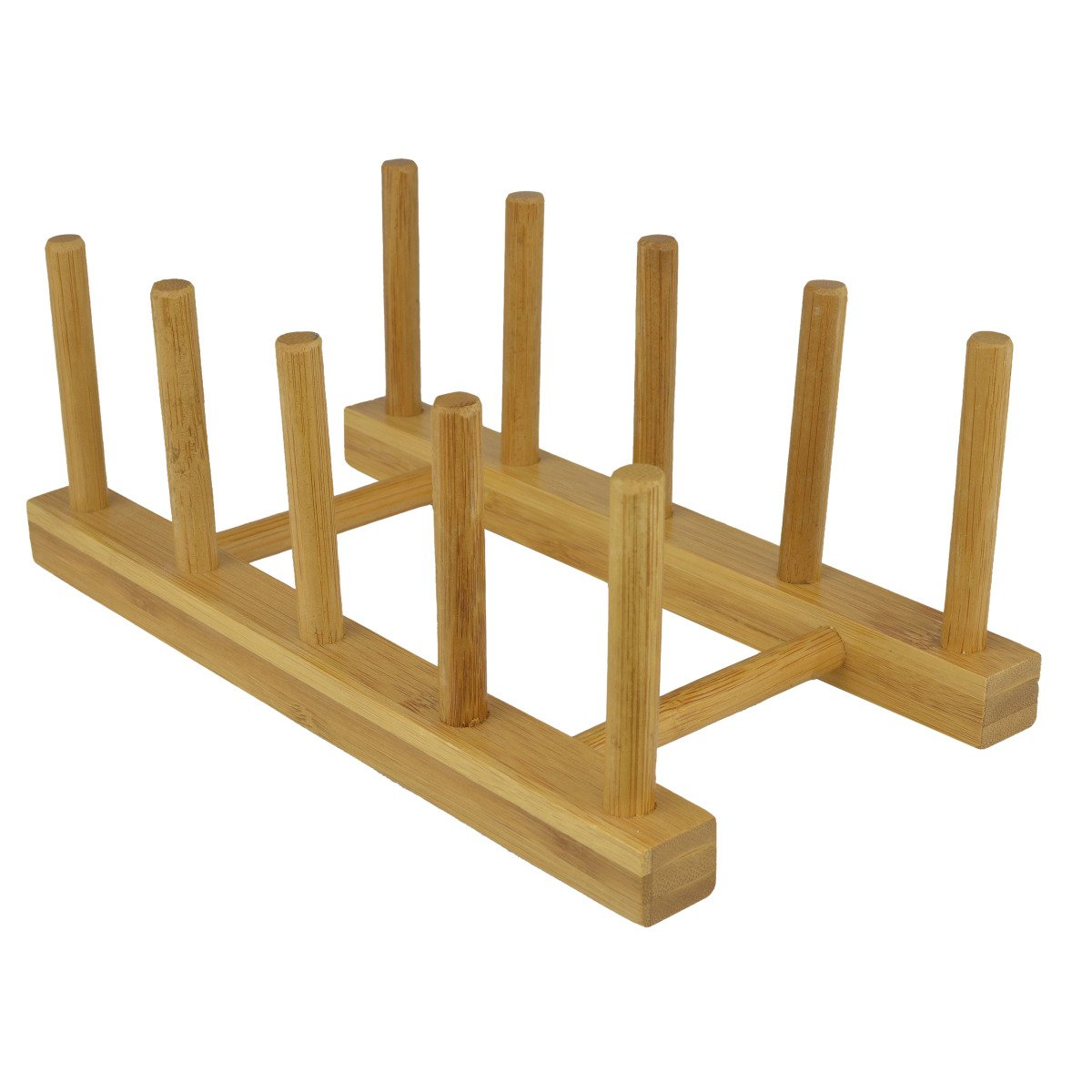 Eco Friendly Bamboo Wood Plates / Pots / Pans / Cups Dish Drying Rack Drainer Storage Organizer - MyGift