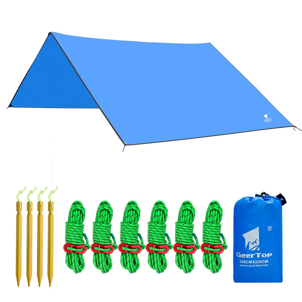 Geertop Lona de Acampada Toldo Carpa Refugio de 300 x 220 cm Azul Lona de Suelo Camping Estera Ligera Impermeable Hamaca con Vientos y Piquetas para Acampar Excursiones Deportes al Aire Libre