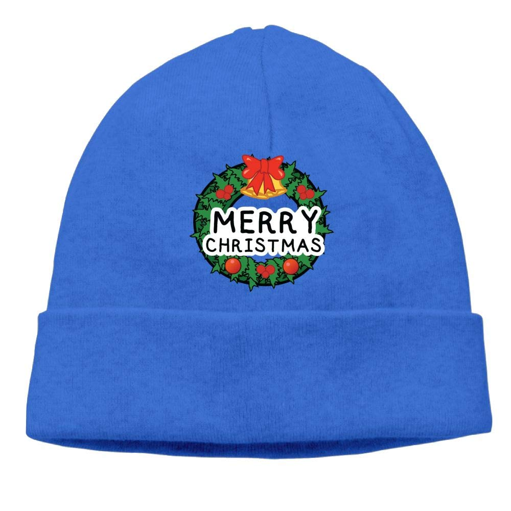 Michgton Merry Christmas Wreath Beanie Hat Knitted Hats Mens Slouchy Soft